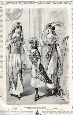 Costumes for young ladies.La Mode Illustrée December 1910