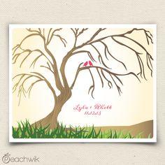 The Willowik - Weeping WIllow Wedding Fingerprint Tree Guestbook Alternative - By Peachwik