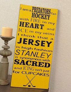Nashville Predators Hockey Sign  ** Custom Made By Kara's Custom Memories ** To order visit my FB...  www.facebook.com/kcmcreativememories