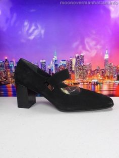 Womens shoes NATURALIZER Soft black SUEDE mary jane HIPSTER BOHO pumps sz 8 M #Naturalizer #MaryJanes