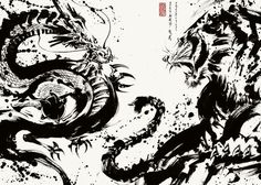 Ninja Kunst, Arte Ninja, Ninja Art, Samurai Tattoo, Samurai Art, Japanese Dragon, Japanese Art, Dragon Tiger Tattoo, Desenho Tattoo