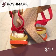 Multi colored wedge Worn once. Shoes Wedges