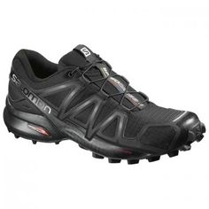 Salomon Men's Speedcross 4 Trail Running Shoes Black/Black/Black Metallic X w/ Socks - Salomon Speedcross 4 Trail Running Shoe has the fit and grip on slippery trails of the legendary Speedcross with new features to improve those same features Best Trail Running Shoes, Trail Shoes, Hiking Shoes, Running Shoes For Men, Women's Shoes, Shoes 2018, Wedge Shoes, Prom Shoes, Wedding Shoes