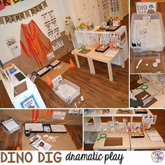 Dinosaur Dig Dramatic Play Dinosaur Themed Activities & Centers for Little Learners - Pocket of Preschool Dinosaur Classroom, Dinosaur Theme Preschool, Dinosaur Play, Dinosaur Activities, Preschool Classroom, Preschool Plans, Preschool Centers, Dinosaur Crafts, Preschool Science