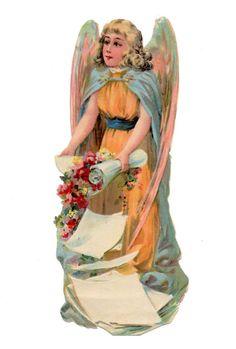 Alte Oblate Glanzbilder Scraps großer Engel  ... 18cm