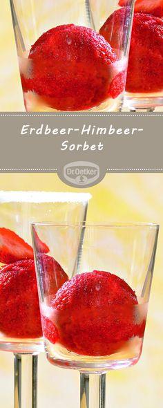 Erdbeer-Himbeer-Sorbet: Ein fruchtiges Sorbet mit Erdbeeren und Himbeersirup für warme Tage #sorbet #erdbeer #himbeer