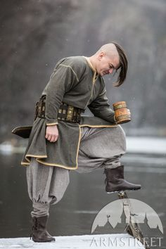"""""""Olegg the Mercenary"""" Limited Edition Wool Viking Tunic for sale. Available in: peat color natural wool :: by medieval store ArmStreet Medieval Tunic, Viking Tunic, Medieval Clothing, Tunics For Sale, Renaissance Wedding, Old Norse, Medieval Fashion, Cotton Tunics, Green Wool"""