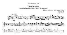 Sheet music for Badinerie from Orchestral Suite No. 2 in B minor by Johann Sebastian Bach, arranged for Flute solo. Free printable PDF score and MIDI track.