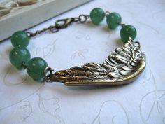 Brass wing bracelet feather forest green by botanicalbird