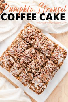 This pumpkin streusel coffee cake takes the classic to a new flavorful level. This delicious breakfast or brunch treat is topped with vanilla glaze and chopped pecans. Pumpkin Coffee Cakes, Pumpkin Cake Recipes, Best Cake Recipes, Pumpkin Dessert, Pumpkin Cheesecake, Dessert Recipes, Breakfast Recipes, Fall Recipes, Breakfast Ideas