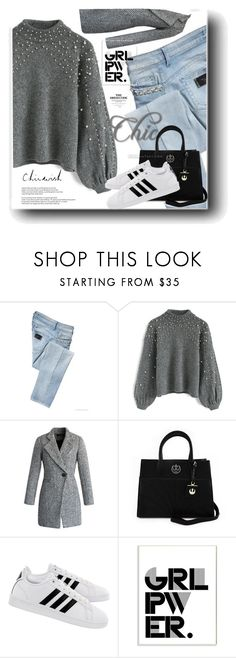 """Power look"" by snezanamilunovic ❤ liked on Polyvore featuring LIU•JO, Chicwish, Loungefly, adidas, Stupell, chicwish, girlpower and powerlook"