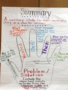 Great anchor chart for telling a summary of a story.