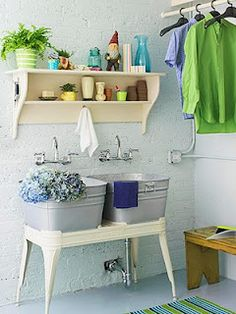 Fun for a Laundry Room with a built in bathroom area.