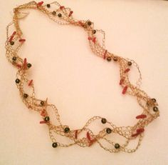 Wire Gold Crochet Necklace with by HelenHandmadeJewels on Etsy