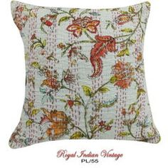 White Floral Printed Pillow Case DIY Kantha Embroidered Sofa Case PL55