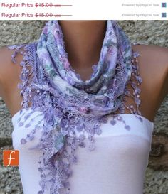 ON SALE Multicolor Scarf  - Cotton  Scarf -  Cowl with Lace Edge - Lilac - fatwoman - Bridesmaids Gifts on Etsy, $14.25