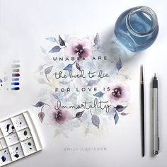 MicroQuotes is a Mini lettering series by Dangerdust. Series of quote illustrations that are drawn by hand at a small scale and created in various media. Calligraphy Letters, Typography Letters, Watercolor Flowers, Watercolor Paintings, Watercolours, Urbane Kunst, Watercolor Lettering, Illustration, Sympathy Gifts