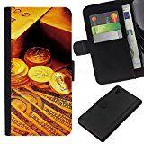 Flip Leder Tasche Handy Schutz Hülle || Sony Xperia Z1 L39 || Gold Bar-Münzen-Geld @XPTECH