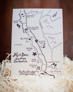 Spiced nuts made by Ben's mom, brownies baked by the groom, and a hand-drawn map by a bridesmaid highlighting the pair's favorite local spots were packed in a Kraft-paper box tied with twine. A welcome note from the mother-of-the-bride topped each one.