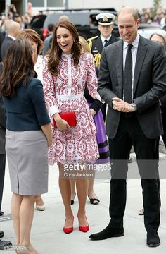 Catherine Duchess of Cambridge and Prince William Duke of Cambridge arrive to the Immigrant Services Society a charitable organisation that provides...