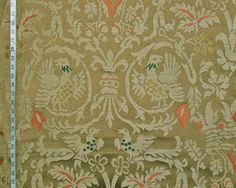 French Medieval satin upholstery fabric Clarence House Sommerset brown beige from Brick House Fabric: Novelty Fabric