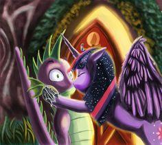 #627707 - artist:thejoker239, golden oaks library, kissing, older, princess twilight, safe, shipping, spike, straight, surprised, surprise kiss, tailboner, twilight sparkle, twispike - Derpibooru - My Little Pony: Friendship is Magic Imageboard Mlp Twilight, Princess Twilight Sparkle, Mlp Spike, Surprise Kiss, Power Rangers Art, My Little Pony Friendship, Anime, Memes, Cartoon