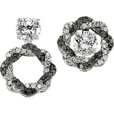 Twisted black and white diamond convertible earring jackets. (studs sold separately) - http://www.burrijewelers.com/