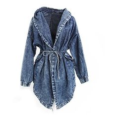 Fashion Women Lady Denim Trench Coat Hoodie Hooded Outerwear Jean... (86 RON) ❤ liked on Polyvore featuring outerwear, jackets, hooded jacket, denim trench jacket, hooded trench coats, blue jackets and trench coat