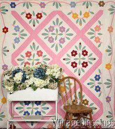 "$245 Folky! Vintage 1941 Appliqued Flower Wreathes QUILT Vining Border 104x77"" www.Vintageblessings.com"