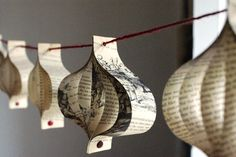 Paper garland, Christmas decoration, Alice in Wonderland, upcycled book, red and cream
