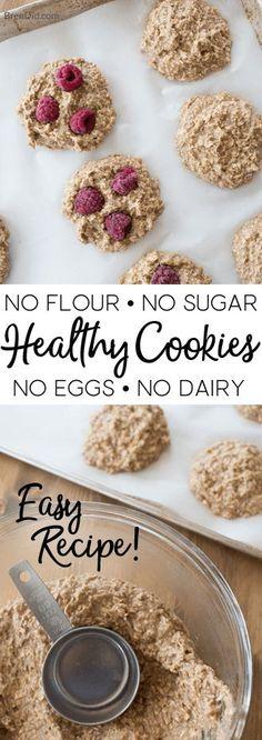 Healthy Cookies Kids Love   no flour, no dairy, no eggs, no sugar   Easy healthy cookie recipe   healthy oatmeal cookies   healthy oatmeal cookie recipe via @brendidblog