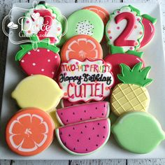 Items similar to Twotti Fruitti Two-tti Fruity Fruit Birthday Second Birthday Party Cookies on Etsy 2nd Birthday Party For Girl, Fruit Birthday, Second Birthday Ideas, Girl Birthday Themes, Birthday Cookies, Tutti Fruity Party, Fruit Party, Tutti Frutti, First Birthdays