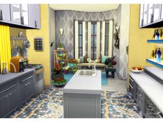 Sims 4 House Plans, Sims 4 House Building, New House Plans, Sims 4 Kitchen, Sims 4 House Design, Decoration Vitrine, Casas The Sims 4, Sims 4 Build, Sims 4 Houses