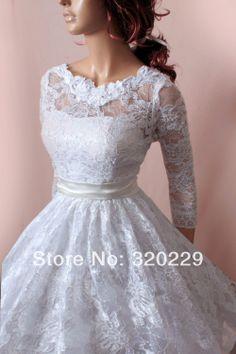 Frete grátis!! 2014 curto casamento vestido de renda/mangas compridas/custom made/lj-892 vestido nupcial US $136.99