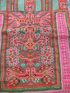 Vintage Hmong Fabric, handmade tapestry textiles, hill tribal fabrics from Thailand. via Etsy.