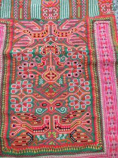Vintage Hmong Fabric, handmade tapestry textiles, hill tribal fabrics from Thailand. via Etsy.