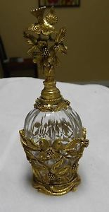Beautiful Vintage Matson Ormolu Bird Dogwood Perfume Bottle with Glass Dauber | eBay