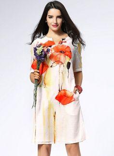 Linen Floral Short Sleeve Knee-Length Vintage Dresses (1029059) @ floryday.com