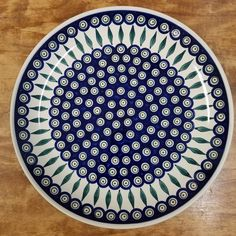 Peacock Platter Round) Collectible Polish Pottery ~ Handmade in Boleslawiec, Poland. Polish Pottery, Platter, Peacock, Decorative Plates, Blue And White, Poland, Tableware, Microwave, Dishwasher