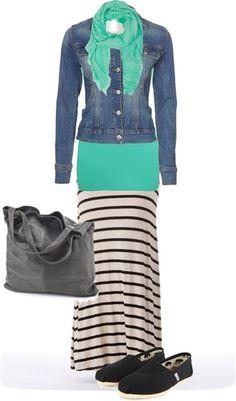 LOLO Moda: Stripes Maxi - Jeans Jacket - Green Scarf & Tank