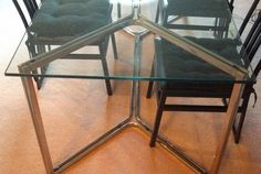 Chrome and Glass Dining Table