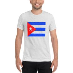 Puerto Rican Flag Mens T-shirt. This flag print is in a unique, pointillist design giving it a distressed look. Great gift item for Puerto Rican pride. Check out my other matching items: Cuban Flag, Puerto Rican Flag, Raglan Shirts, Puerto Ricans, Sleeves, Mens Tops, T Shirt, Shopping, Etsy