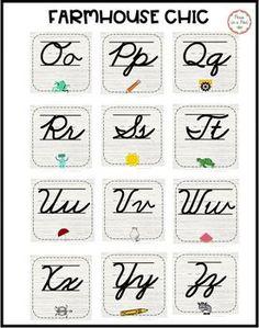 Cursive Alphabet Line Alphabet Line, Cursive Alphabet, Alphabet Cards, Cursive Handwriting Practice, Nouns Worksheet, Good Grammar, Teaching 5th Grade, Classroom Crafts, Blog Love