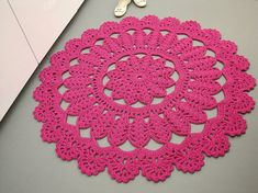 Crochet doily rug large round floor rug round area by OlgaArtShop