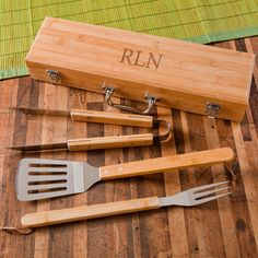 Grilling BBQ Set with Bamboo Case by VinylExpress101 on Etsy