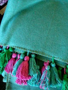 AquaThrow Blanket with Turquoise .Pink and Green hand by milkaLOOM, $90.00