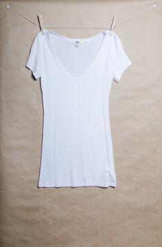 Basic White V-neck