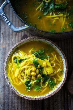 Turmeric Broth Detox Soup- A fragrant healing broth with rice noodles kale chickpeas and cilantro! Turmeric Broth Detox Soup- A fragrant healing broth with rice noodles kale chickpeas and cilantro! Detox Recipes, Soup Recipes, Vegetarian Recipes, Cooking Recipes, Healthy Recipes, Turmeric Recipes, Rutabaga Recipes, Watercress Recipes, Healthy Dinners