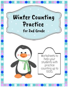 A winter themed activity to help your students practice their counting from random starting points up to 1000. Print and laminate on cardstock and use with dry erase markers at math centres, or use as individual worksheets. Edit to change the numbers for a variety of practice, to target certain numbers. Your students will read the number sequence, figure out the number that is missing, represented by the picture, and write the number on the correct line.