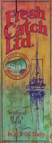 Fresh Catch - Vintage Beach Sign: Custom Vintage Signs